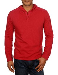 Lucky Brand Hooded Henley Red