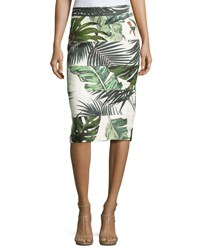 Max Mara Seamed Palm Print Pencil Skirt Ivory