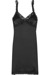 Mimi Holliday By Damaris Lace Trimmed Stretch Silk Chemise Black