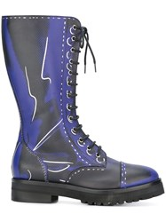 Moschino Trompe L'oeil Knee Length Boots Blue