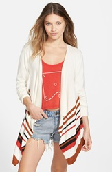 Volcom 'Mixed Direction' Stripe Open Front Cardigan Frozen Bone