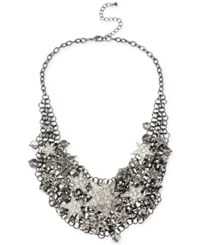 Macy's Haskell Hematite Tone Shaky Star And Faceted Bead Frontal Necklace