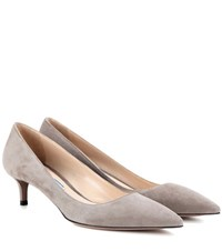Prada Suede Kitten Heel Pumps Grey