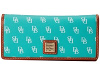 Dooney And Bourke Gretta Slim Wallet Seafoam White W Tan Trim Wallet Handbags Blue