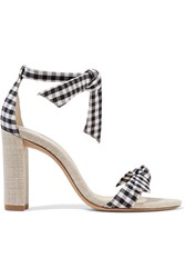 Alexandre Birman Clarita Bow Embellished Gingham And Canvas Sandals Black