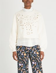 See By Chloe Floral Embroidered Cotton Jersey Sweatshirt Natural White