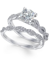 X3 Certified Diamond Engagement Ring Set 1 3 8 Ct. T.W. In 18K White Gold