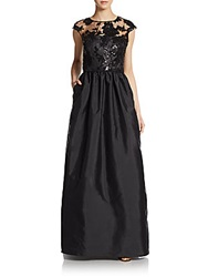 Js Boutique Taffeta Illusion Top Gown Black
