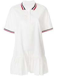 Moncler Gamme Rouge Trim Peplum Polo Dress White