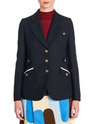 Miu Miu Notched Wool Blend Jacket Navy