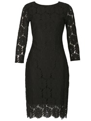 Izabel London Lace Embossed Shift Dress Black