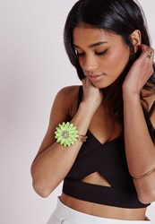 Missguided Statement Floral Bracelet Yellow