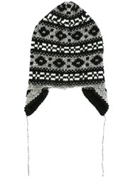 Marc Jacobs Fair Isle Knit Beanie Black