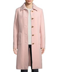 Tory Burch Colette Single Breasted Long Wool Coat Costal Pink