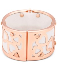 Guess Rose Gold Tone And White Faux Leather Wide Heart Bangle Bracelet
