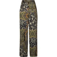 River Island Womens Green Paisley Print Soft High Rise Trousers