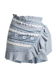 Dodo Bar Or Abigail Ruffle Trimmed Cotton Skirt Blue White