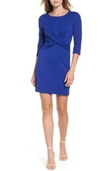 Gibson Knot Front Stretch Knit Body Con Dress Royal