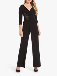 Adrianna Papell Shirred Jersey Jumpsuit Black