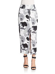 Helmut Lang Abstract Print Midi Skirt Black White
