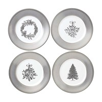 Wedgwood Festive Silver Plates Set Of 4