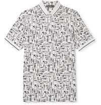 Dolce And Gabbana Printed Cotton Pique Polo Shirt Ecru