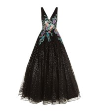 Jovani Embellished Floral Waist Gown Female Black