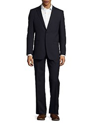 Versace Regular Fit Textured Wool Suit Navy