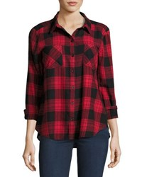 Beachlunchlounge Elyse Fringe Hem Plaid Blouse Black Red