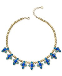 Charter Club Gold Tone Blue Crystal Geometric Collar Necklace Only At Macy's