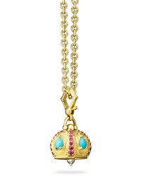 Paul Morelli Raja Turquoise And Ruby Meditation Bell Pendant