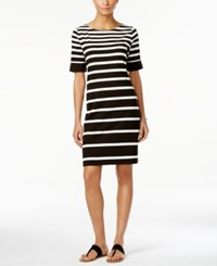 Karen Scott Striped Elbow Sleeve Dress Only At Macy's Deep Black