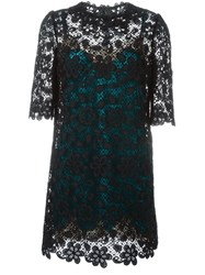 Dolce And Gabbana Embroidered Lace Dress Black