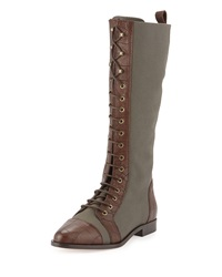 Etienne Aigner River Canvas Lace Up Boot Fatigue