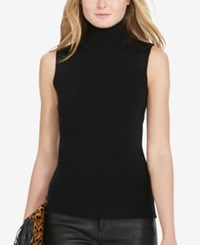 Polo Ralph Lauren Suede Patch Ribbed Turtleneck Polo Black
