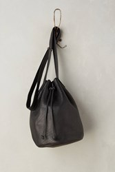 Anthropologie Classic Leather Bucket Bag Black