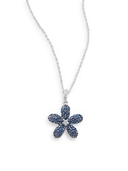 Effy Final Call Sapphire Diamond And 14K White Gold Flower Pendant Necklace