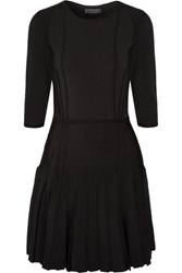 Cushnie Et Ochs Pleated Stretch Knit Mini Dress Black