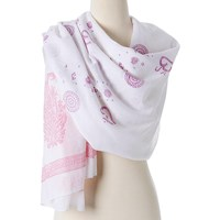 Omsutra Paisley Cotton Prayer Shawl Pink And Purple