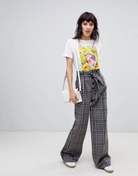 Stradivarius Check Wide Trouser With Tie Waist Detail Multi