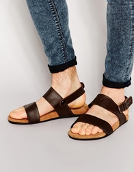 Toms Moreno Leather Sandals Brown