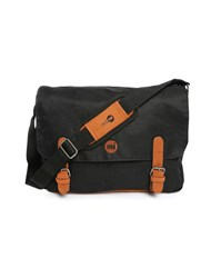 Mi Pac Black Messenger Bag With Camel Leather Details 14 L