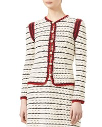 Gucci Classic Web Trim Cardigan Natural White Black Natural White B R