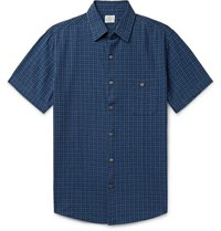 Faherty Coast Indigo Dyed Organic Cotton Jacquard Shirt Indigo