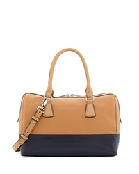 Charles Jourdan Dara Colorblocked Leather Satchel Bag Tan Black