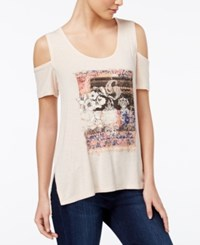 Jessica Simpson Lorani Cold Shoulder Graphic T Shirt Light Pastel Orange