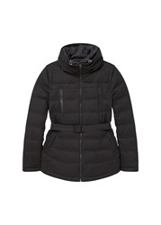 Mango Belted Feather Down Coat Black