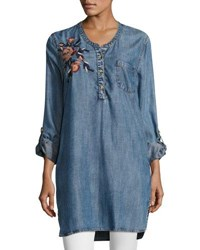 fa796975f33ca6 Tolani Joselyn Chambray Tunic Plus Size