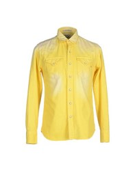 Replay Denim Denim Shirts Men Yellow