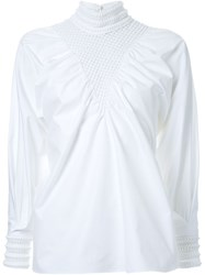 Fendi Puffed Sleeve Blouse White